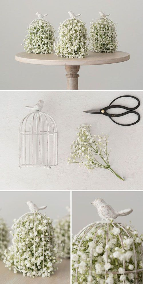 Flowers in Birdcages - Cheap Wedding Decoration Ideas