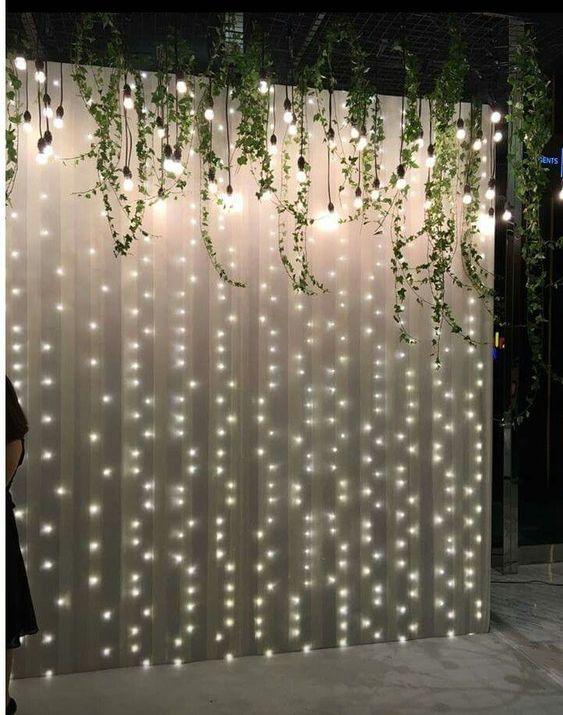 Fairy Lights as a Backdrop - Cheap Wedding Decoration Ideas