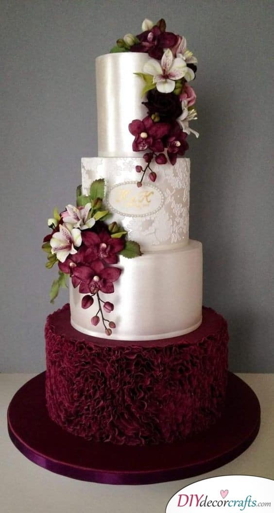 Satin and Burgundy - Refined Wedding Cake Ideas