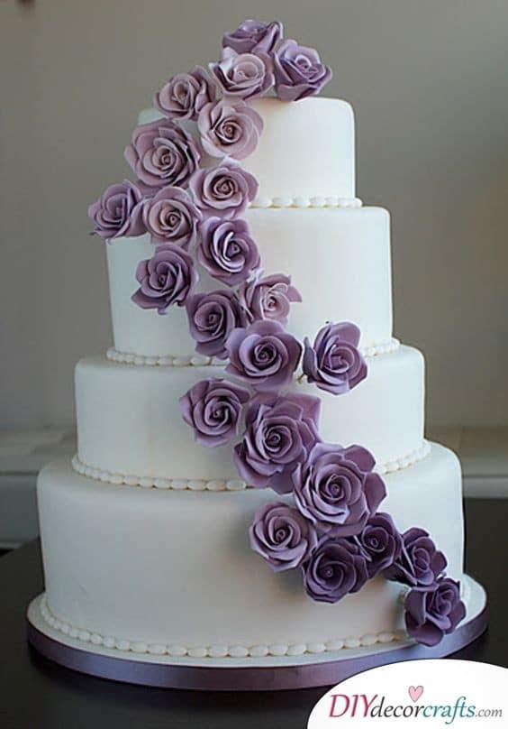 Pearls and Purple Flowers - Wedding Cake Ideas