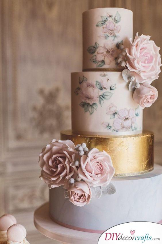 The Merge of Metallic and Vintage - Wedding Cake Ideas