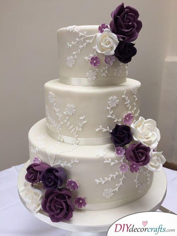 Shades of Purple - Wedding Cake Decorations