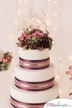 Metallic Ribbons - Wedding Cake Ideas