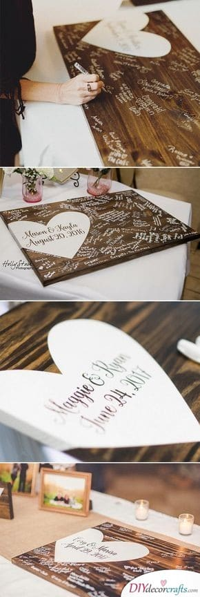 Guest Book in the Form of a Board - Wedding Guest Book Alternatives