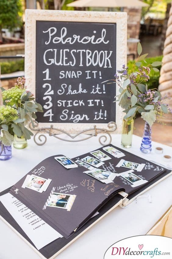 A Polaroid Guest Book - Snap, Shake, Stick and Sign