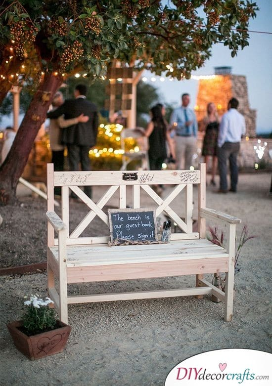 Inscribed Benches - Unusual, but Beautiful Wedding Guest Book Alternatives