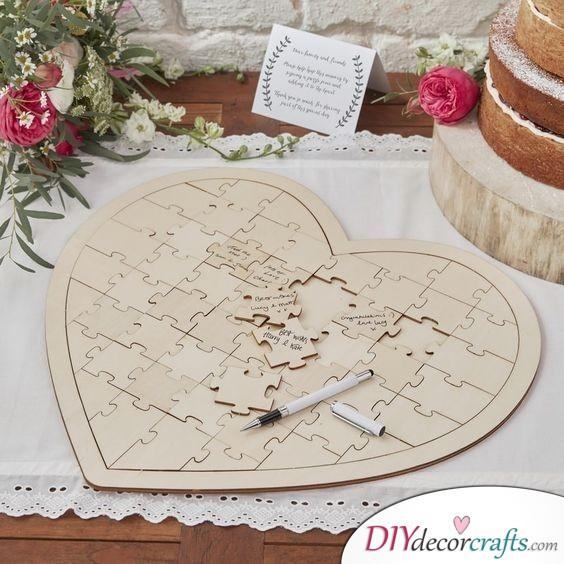 Heart Shaped Jigsaw - Wedding Guest Book Alternatives