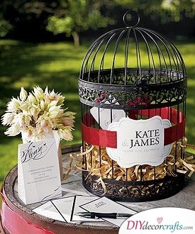 A Cage Filled with Good Wishes - Unique Wedding Guest Book Ideas