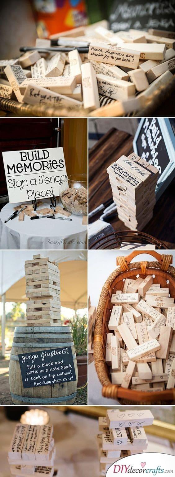 A Jenga Wedding Guest Book - Fun Wedding Guest Book Alternatives
