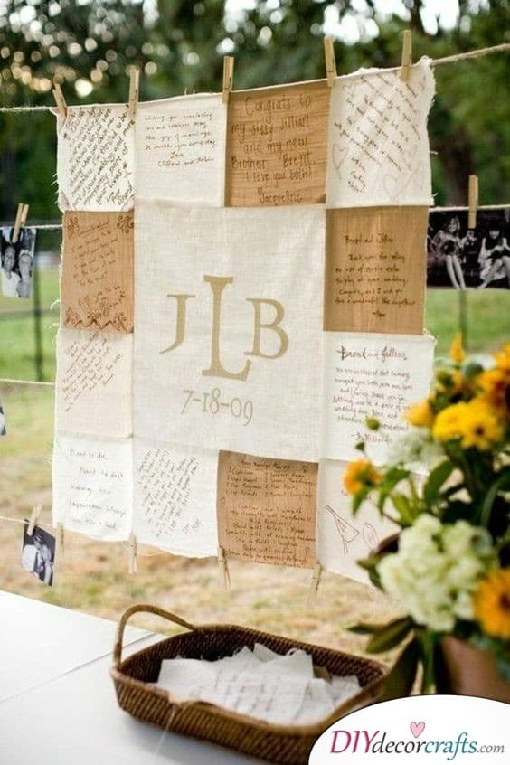 A Unique Wedding Guest Book Made out of Cloth - A Rustic Take on Things