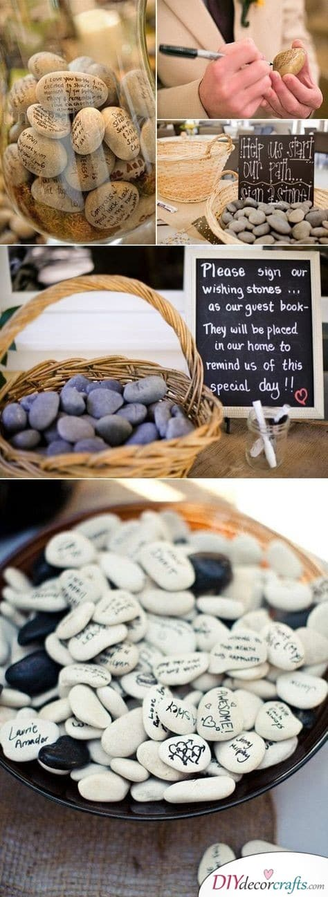 Pebbles and Stones - Cute Wedding Guest Book Alternatives