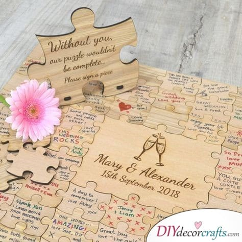 A Puzzle Shaped Guest Book - Great Wedding Guest Book Ideas