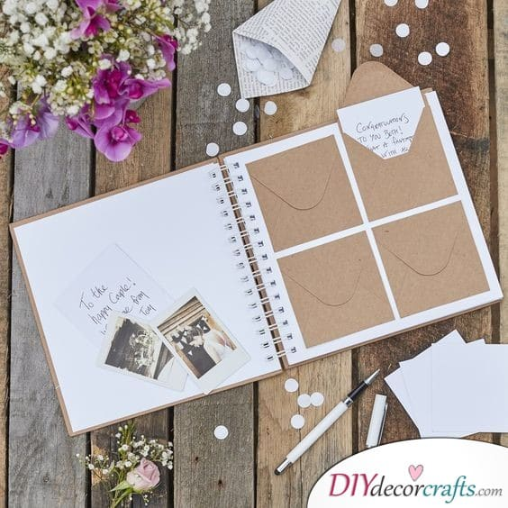 Mini Envelopes in an Album - Sophisticated Wedding Guest Book Ideas