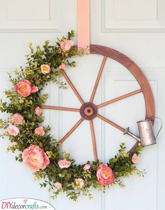 A Wheel of Fortune and Flowers - Wagon Wheel Ideas