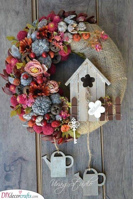 A Rustic Wreath - Cute Spring Door Decorations