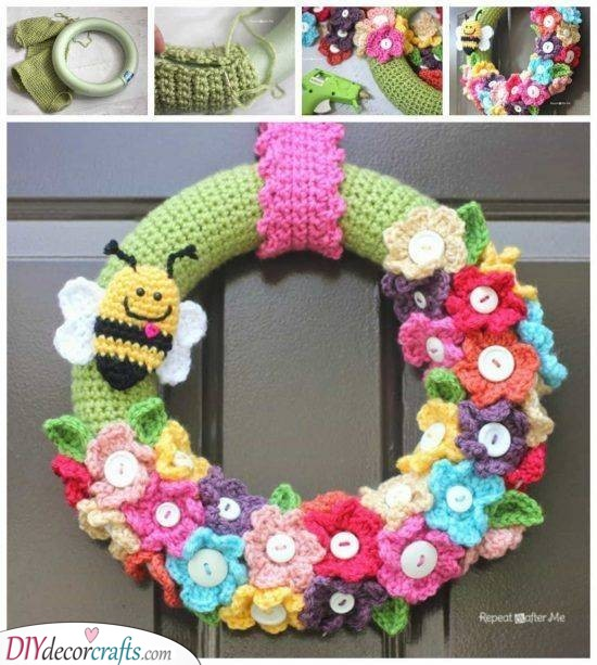 A Knitted or Crocheted Wreath - DIY Spring Arts and Crafts