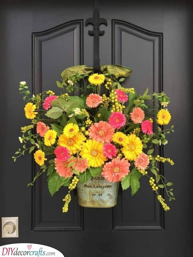 A Combination of Yellow and Pink - Spring Door Decorations