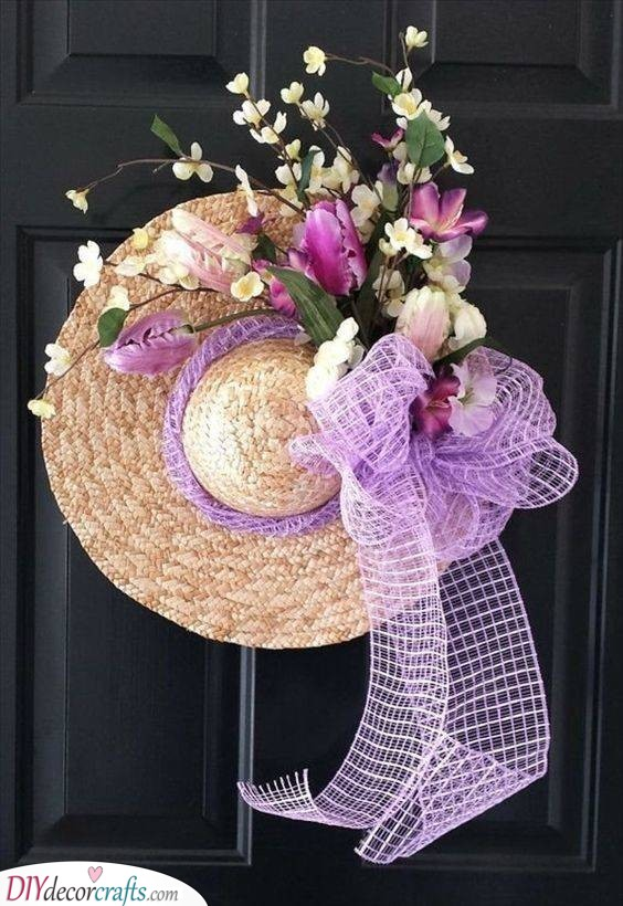 Floral Straw Hat - Spring Door Decorations