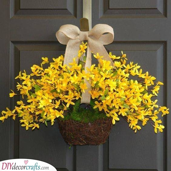 A Display of Forsythias - Spring Wreaths for Front Door