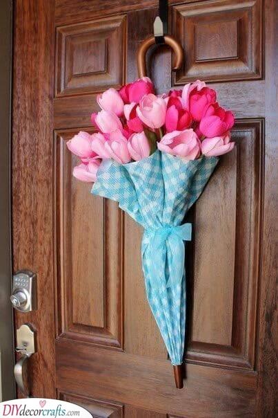 An Umbrella Full of Tulips - Great Spring Door Decor
