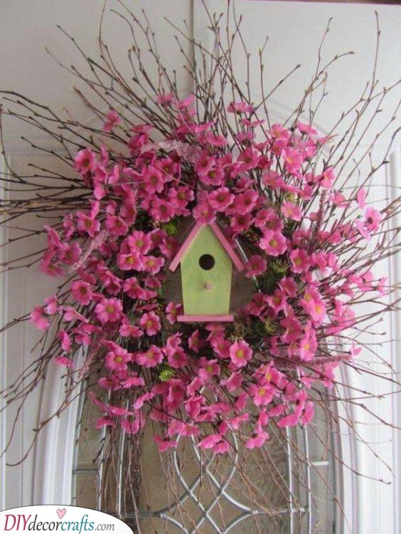 A Tiny Bird's Nest - Gorgeous Spring Wreaths for Front Door