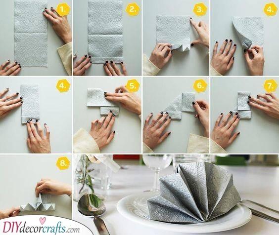 Folded Fan - DIY Wedding Napkin Ideas