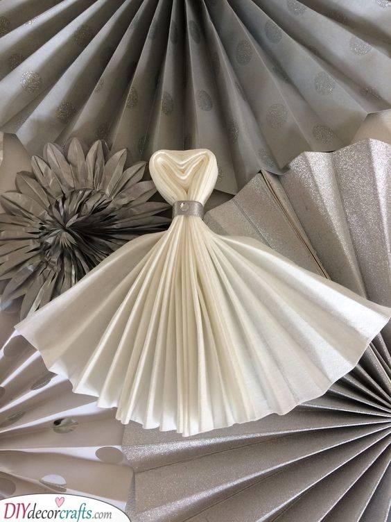 Dress or Napkin? - White Wedding Dress Idea