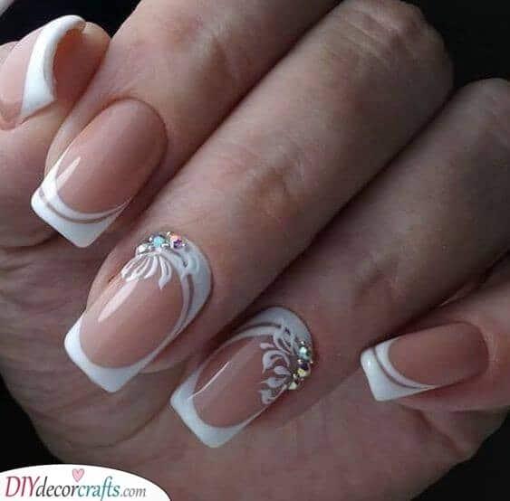 White Swirls - Wedding Nail Designs