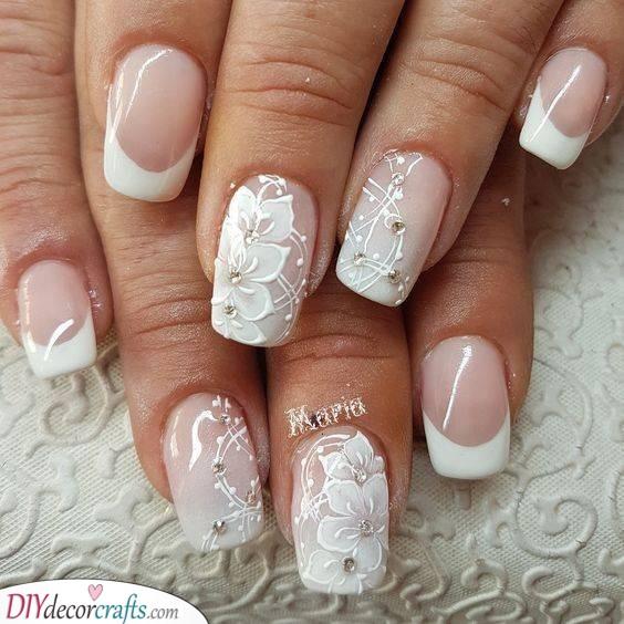 Romantic Florals - Wedding Nails for Bride