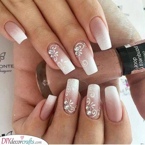 Ombre with Floral Decor - Natural Wedding Nails for Bride