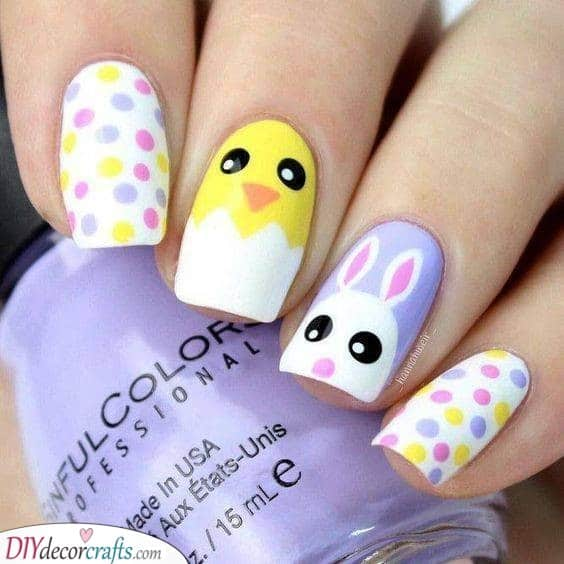 Polka-dots and Animals - Cute Nail Designs for Easter