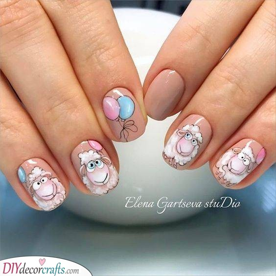 Cute Sheep - The Best Easter Nail Designs