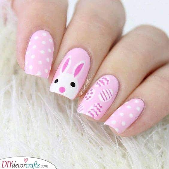 Easter Eggs and Bunny - Shades of Pink