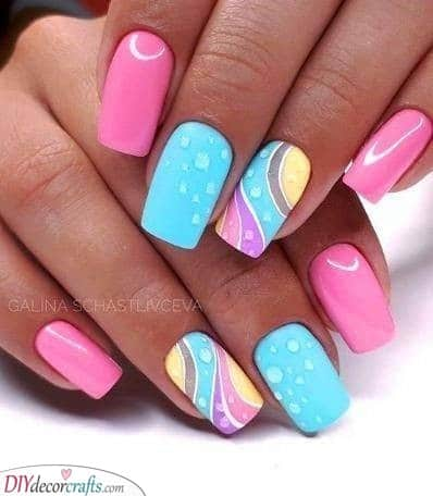 Swirls of Colour - Simple Easter Nails