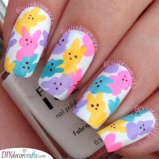 Cute Easter Bunnies - Adorable Easter Nail Designs