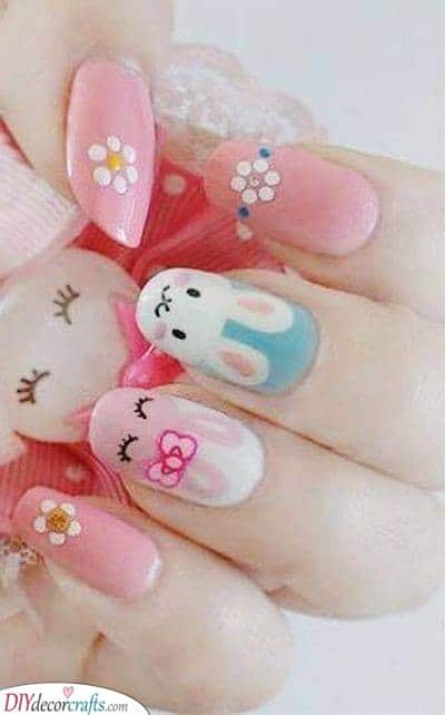 Rabbits and Flowers - Easter Nail Designs