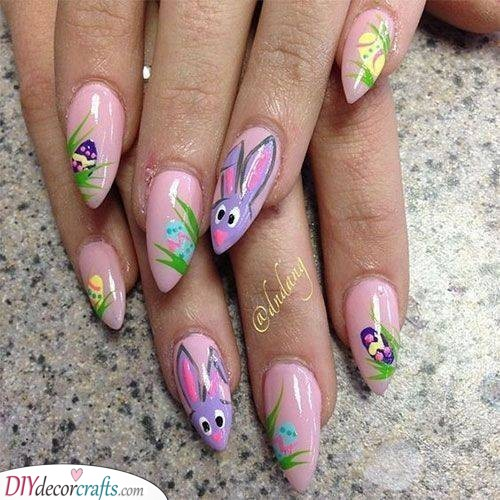 On a Hunt for Easter Eggs - Cute Easter Nails