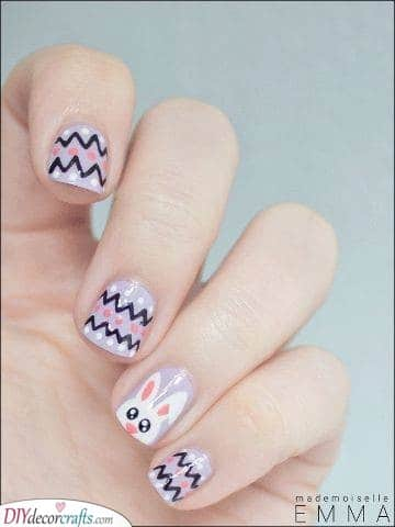 Zig-Zag Patterns - Funky Easter Nail Designs