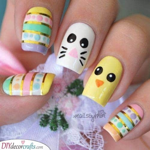 A Glimmer of Gold - Easter Nail Designs