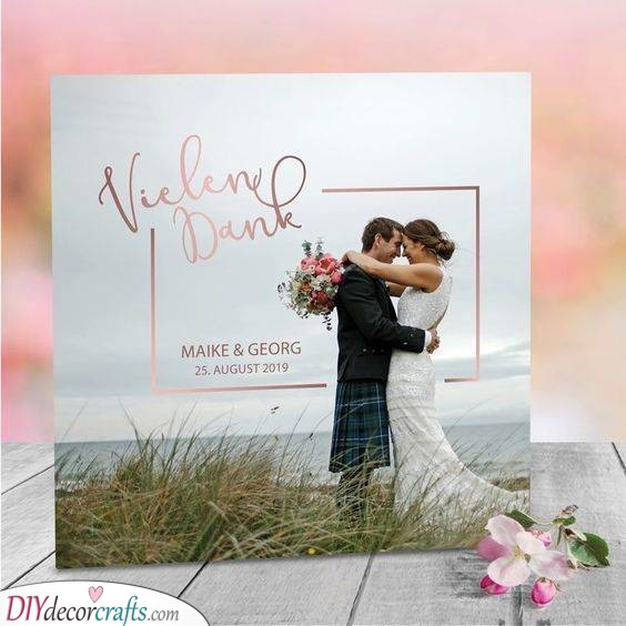 Romantic Rose Gold - Ideas for Wedding Thank You Cards