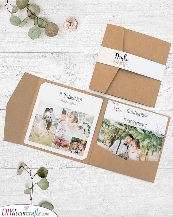 A Folded Envelope - Photo Wedding Thank You Cards