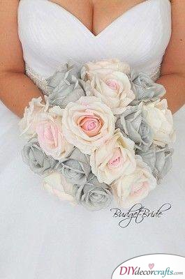 Pink and Grey - Simple Wedding Bouquets