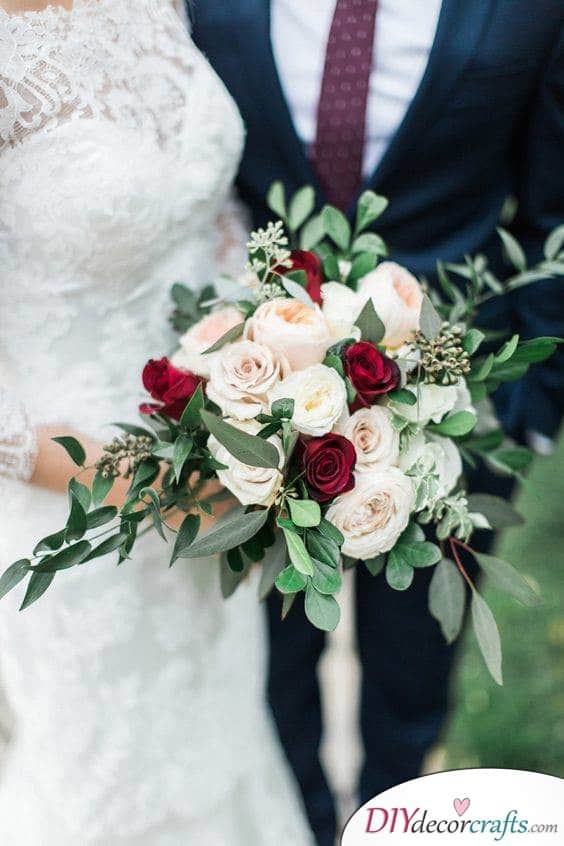 Romantic Display - Red and White Roses