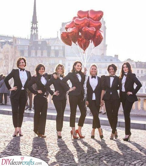 Stylish in Suits - Bachelorette Party Ideas
