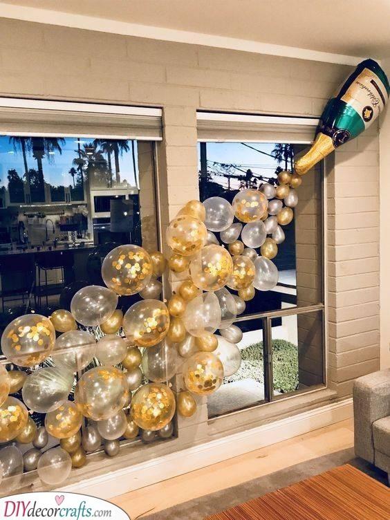 Champagne Balloons - Bachelorette Party Decor