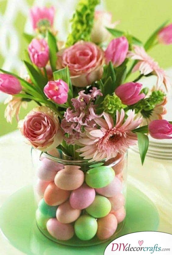 Eggs Amongst the Flowers - Spring Floral Decorations