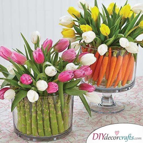 Spring Vegetables and Flowers - Table Centrepieces for Spring