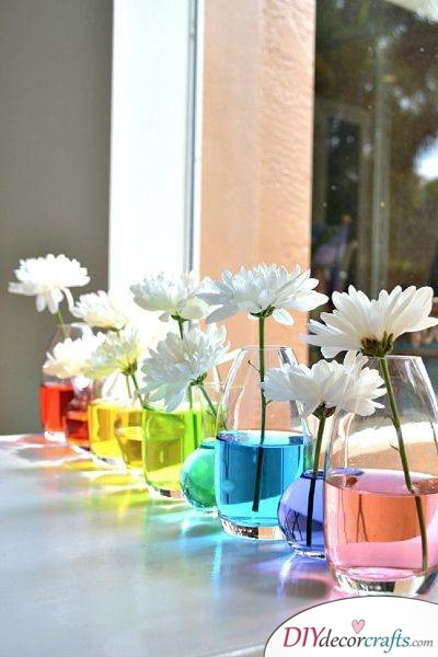 Colouring Your Flowers - A Magical and Rainbow Effect