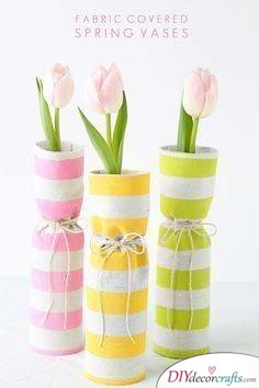 Fabric Covered Vases - Perfect Ideas for Spring Decor