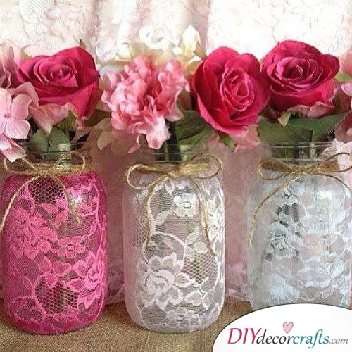Lace on Vases - Spring Table Decor